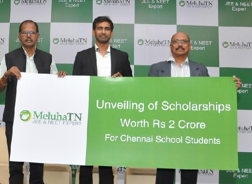 Mr. Ram N Ramamurthy, Co-founder and Director of Meluha TN announced Scholarships Worth Rs. 2.2 Cr for School Students of Chennai for the Forthcoming Academic year on the eve of Launch of Meluha Operations in Tamil Nadu on 21st Nov. 2018 at Chennai. From L to R: Mr. Ram N Ramamurthy, Co-founder and Director of Meluha TN, Mr. Abhilek Puttagunta, Director (Operations) of Meluha and Mr. ABRP Reddy, CEO of Meluha TN