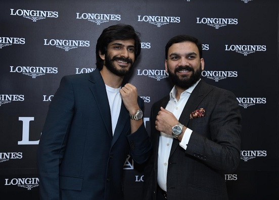 Harshvardhan Kapoor with Sharjeel Nawaz Khan, Director Zimson Watches at the launch of Longines Conquest VHP at UB City, Bangalore