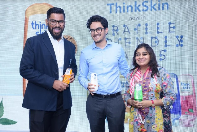 L to R: Ajay Kumar Reddy, Captain of Indian Men's Blind Cricket Team, Keshav Biyani, Head – Home and Personal Care, Future Consumer Limited and Ashni Biyani, Managing Director, Future Consumer Limited unveiling Braille friendly ThinkSkin body wash packs on World Braille Day