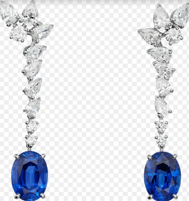 Earrings with sapphires and diamonds, set in platinum