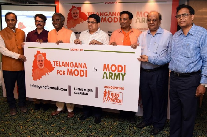 Telangana For Modi campaign being launched by the campaign Founder, Techno-entrepreneur and BJP state leader, Gajjala Yoganand, and campaign strategist & Founder CEO of MJSPR, MJ Srikant in the presence of other leaders who form the core group of Modi Army