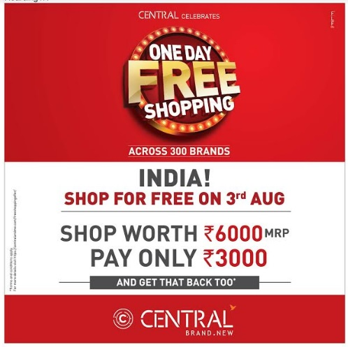 One Day Free Shopping on 3rd August