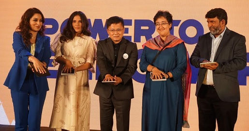 Left to Right: Actor and Author Tisca Chopra, Actor Richa Chadda, Mr Huaiyuan Yang, Vice President, UC Global Business, Alibaba Innovation Initiatives Business Group, Ms Atishi, National Executive Advisor to Deputy CM, Govt of NCT of Delhi and Himanshu Giri, CEO, Pratham Books inaugurating the 2019 forum of Alibaba 9.5 Philanthropy Conference