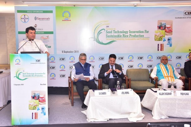 Hon'ble Union Minister of State for Agriculture and Farmer's Welfare, Shri Kailash Choudhary; Dr Prem Kumar, Hon'ble Minister of Agriculture, Government of Bihar and other dignitaries at the Seminar on Seed Technology Innovation for Sustainable Rice Production organised by Federation of Seed Industry of India (FSII) in New Delhi today