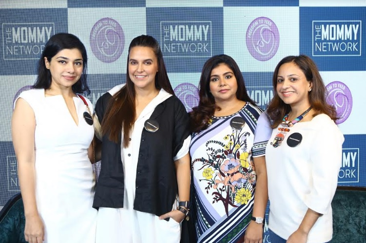 Neha Dhupia with The Mommy Network Co-founders