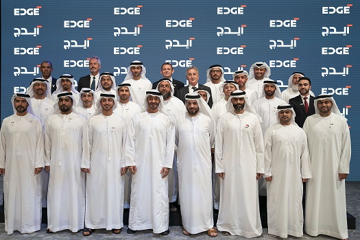 His Highness Sheikh Mohamed bin Zayed Al Nahyan with the CEOs of the newly announced UAE Advanced Technology Company, EDGE