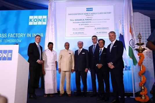 From L to R: Axel Berkling, EVP APA, KONE Corporation, Thiru M. C. Sampath, Honourable Minister for Industrial Department, Govt. of Tamil Nadu, Thiru Banwarilal Purohit, Honourable Governor of Tamil Nadu, Antti Herlin, Chairman, KONE Corporation, Henrik Ehrnrooth, President & CEO, KONE Corporation, Amit Gossain, Managing Director, KONE India and H.E. Pekka Haavisto, Honourable Minister for Foreign Affairs of Finland