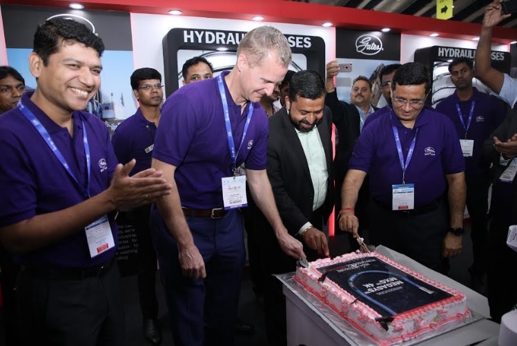Mr. Rajesh Bhandari, Senior Managing Director, at the product launch of MXG 4K Hydraulic Hose at Excon 2019, Bengaluru
