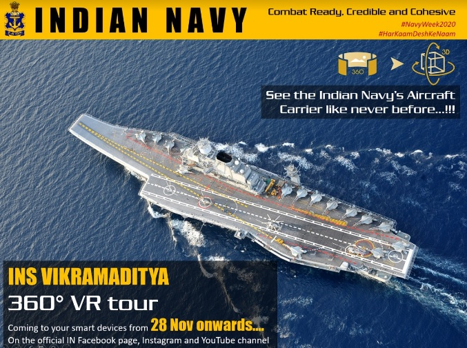Indian Navy Releases Schedule for Virtual Tours of INS Vikramaditya on Navy Day