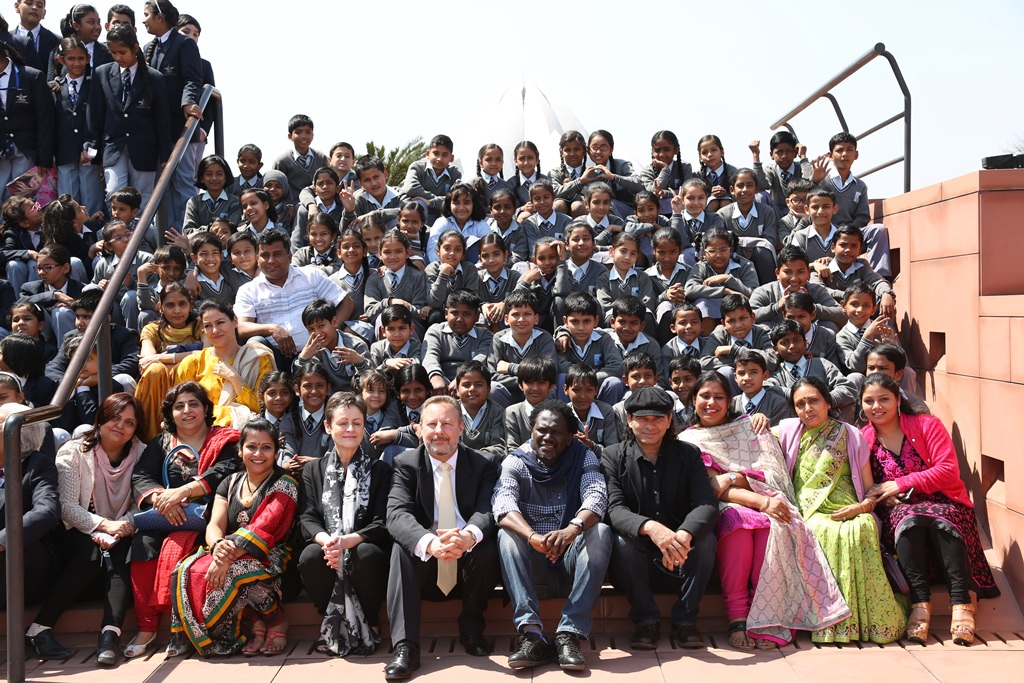Students and teachers with Cathy Graham (Director of Music, British Council), Rob Lynes (Director British Council India), Singer Mohit Chauhan and Metzo Djatah (much-admired singer from Senegal)