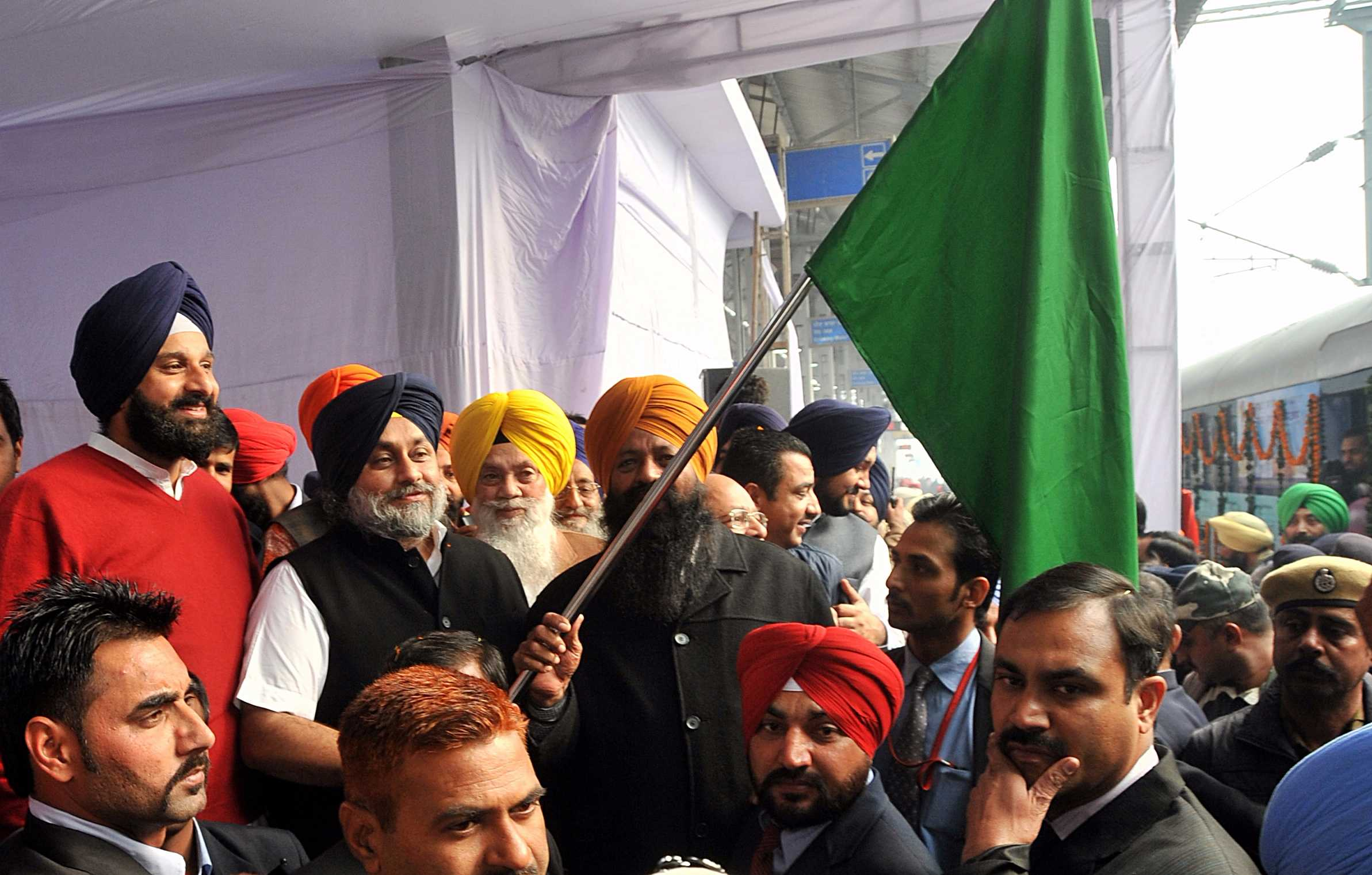Punjab Deputy Chief Minister Mr. Sukhbir Singh Badal flagging off Special Train from Amritsar to Nanded Sahib on Friday.
