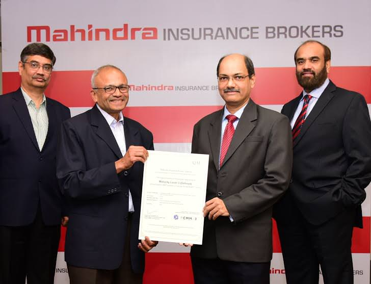 (L to R ) Mr. Vinay Deshpande, Chief People Officer,  Mahindra & Mahindra Financial Services Sector; Mr. Rajesh Naik, Lead Appraiser, QAI India handing over the Certificate to Dr. Jaideep Devare Managing Director, MIBL & Mr. Ramesh Iyer, , Managing Director, Mahindra & Mahindra Financial Services Ltd. and President – Financial Services Sector and Member of Group Executive Board of the Mahindra Group