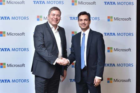Mr. Guenter Butschek, CEO & MD, Tata Motors and Mr. Anant Maheshwari, President, Microsoft India, announcing the collaboration, to redefine the connected experience for automobile users. This aims at enhancing in-car connectivity and efficiency for an enriched mobility experience. The first vehicle developed through this partnership will be unveiled at the 87th Geneva International Motor Show on 7th March 2017