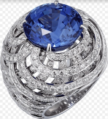Ring with a sapphire and diamonds, set in platinum