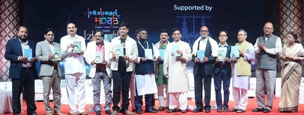 Irshad Kamil and Quaiser Khalid, with other poets at Izhaar the International Film Festival of Poetry 2019