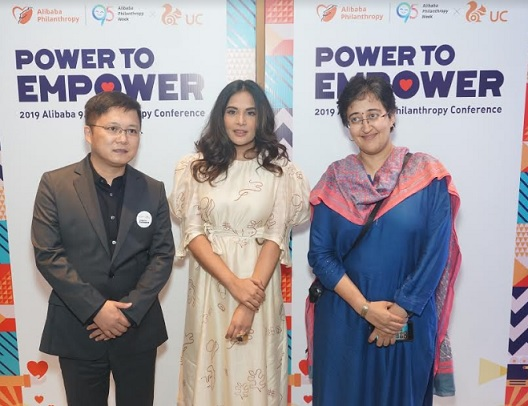"Left to Right: Mr Huaiyuan Yang, Vice President, UC Global Business, Alibaba Innovative Initiatives Business Group, Actor Richa Chadda and Atishi Marlena, National Executive Advisor to Deputy CM, Govt of NCT of Delhi and Member, Political Affairs Committee, Aam Aadmi Party at  the Alibaba Foundation 9.5 Philanthropy Conference 2019. UCWeb is setting up its ""Internet plus Philanthropy Model"" in India - it aims to create a responsible content ecosystem that will narrow the digital divide and create jobs within the country"