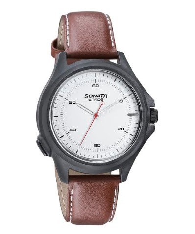 Stride - Hybrid Smartwatch with White Dial and Tan Leather Strap