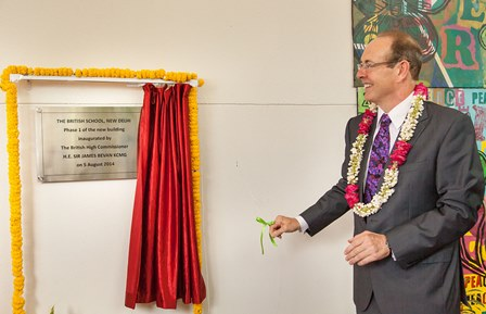 H. E. Sir James David Bevan KCMG, British High Commissioner to India inaugurates the new British School building
