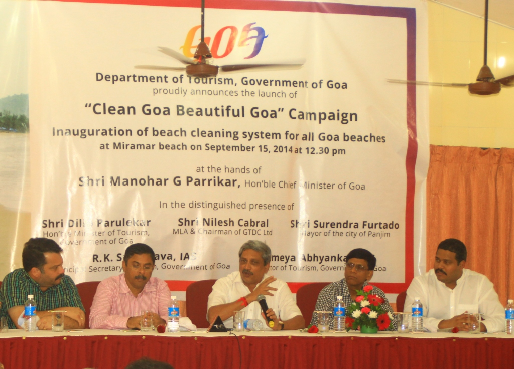 Chairman, GTDC, Mr. Nilesh Cabral; Minister of Tourism, Mr. Dilip Parulekar, Chief Minister of Goa, Mr. Manohar Parrikar; Principal Secretary, Tourism, Government of Goa, R. K Srivastava IAS and Director, Department of Tourism, Mr. Ameya Abhyankar IAS at