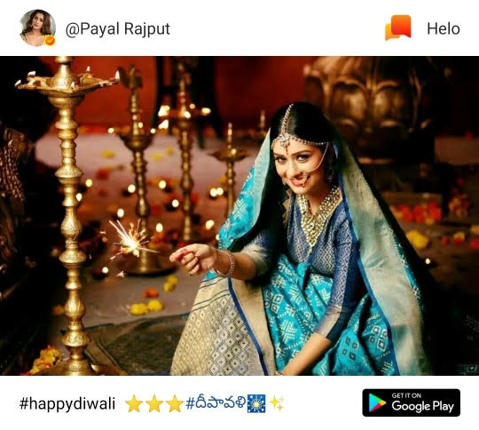 Diwali wish picture for her fans by Payal Rajput